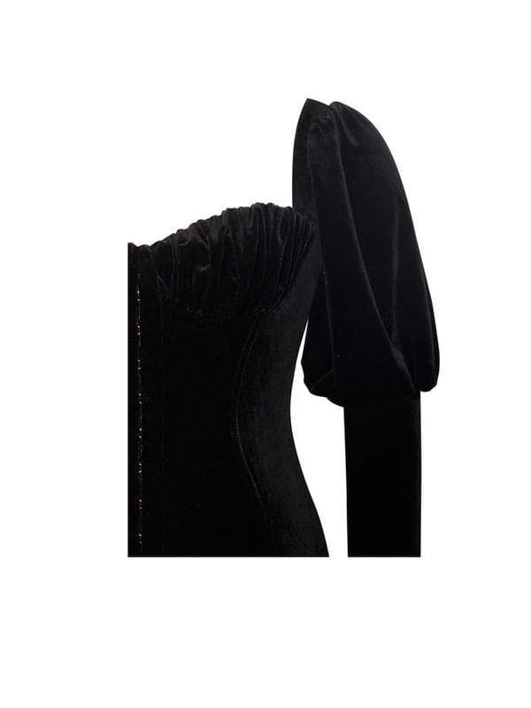 House of Maguie Dresses Breana Puff Sleeve Black Velvet Cocktail Dress