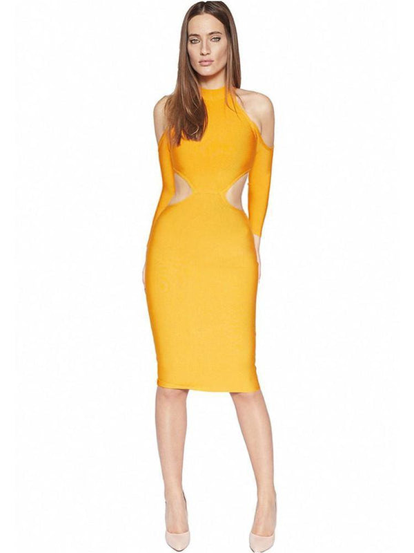 House of Maguie Dresses DARIA PUMPKIN COLD SHOULDER CUT SIDES BANDAGE DRESS