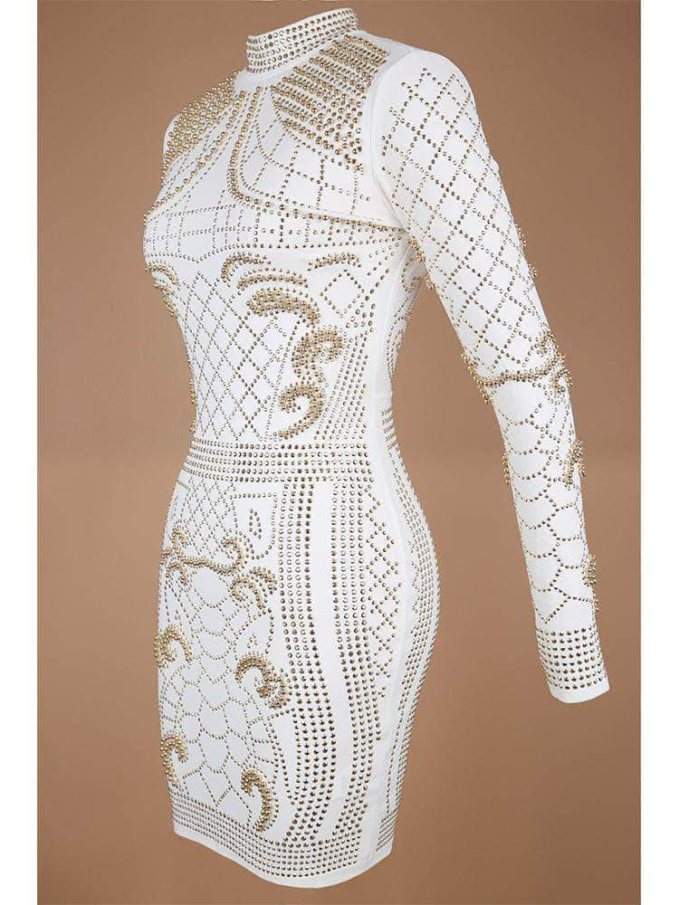 HOUSE OF MAGUIE Dresses DRAMA WHITE CRYSTALS STUDDED HEAVY EMBROIDERY PREMIUM DRESS