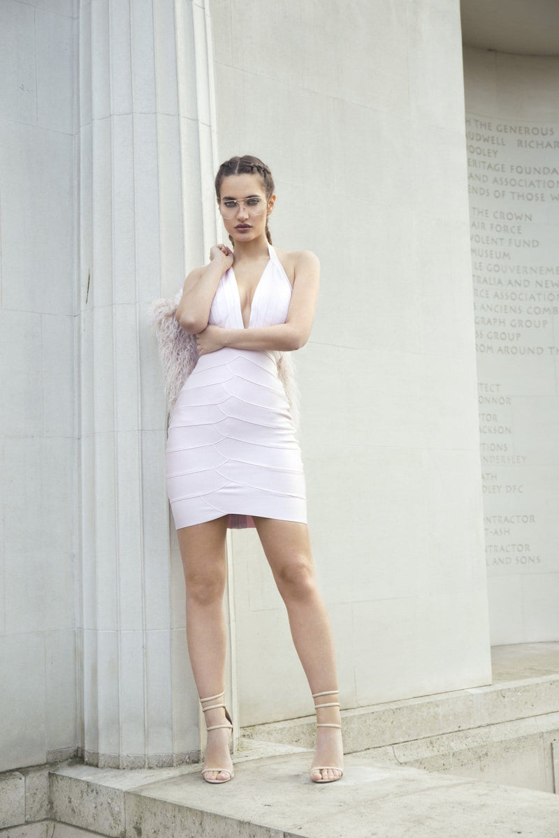 House of Maguie Dresses LUXO BLUSH DEEP PLUNGE BANDAGE DRESS