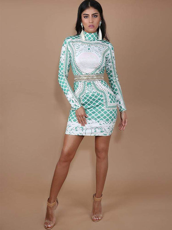 HOUSE OF MAGUIE Dresses MARCHESA GREEN CRYSTAL STUDDED BODYCON DRESS