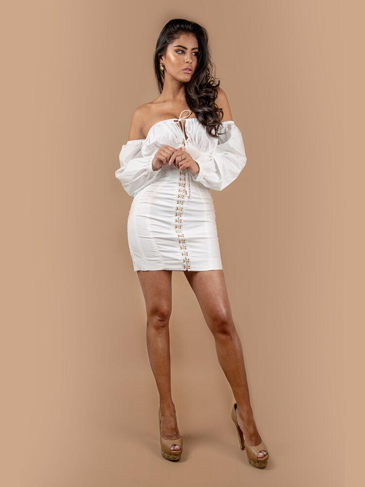 HOUSE OF MAGUIE Dresses MARIAH WHITE PUFF LONG SLEEVES BARDOT STYLE MINI DRESS