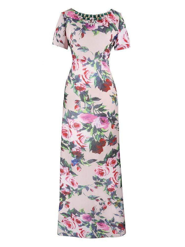 HOUSE OF MAGUIE Dresses MARINA ROSE CHIFFON FLORAL PRINT & CRYSTALS MAXI DRESS