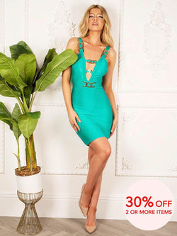 House of Maguie Dresses MISHA AQUA V COLLAR GOLD BUCKLE BODYCON BANDAGE DRESS