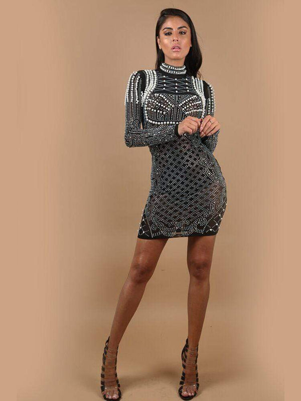 HOUSE OF MAGUIE Dresses MYA BLACK CRYSTALS & PEARLS TURTLENECK PREMIUM BODYCON DRESS
