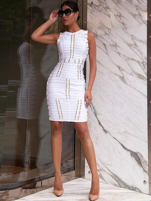 HOUSE OF MAGUIE Dresses NAMOR WHITE BEADED PREMIUM BANDAGE DRESS