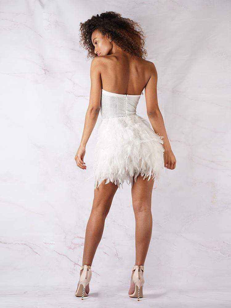 House of Maguie Dresses NINA WHITE FEATHERS & ENCRUSTED RHINESTONES BUSTIER  PARTY DRESS