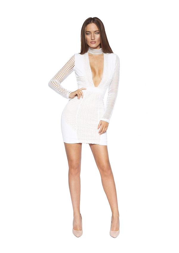 HOUSE OF MAGUIE Dresses PERLA II Bodycon Long Sleeve White Lace Dress
