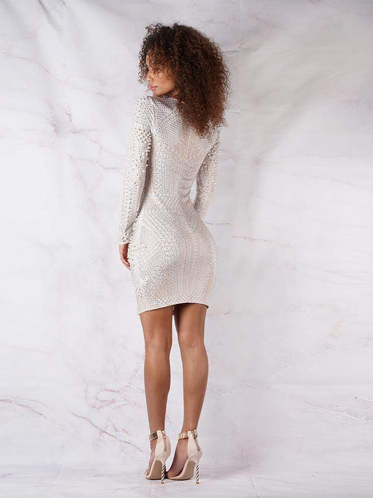 House of Maguie Dresses PERLA WHITE & NUDE LONG SLEEVES PREMIUM LUXE BEADED COCKTAIL DRESS