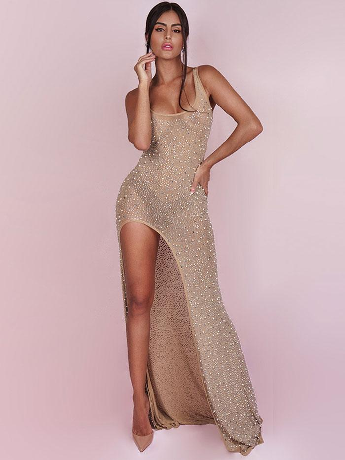 House of Maguie Dresses PEROLA NUDE PREMIUM EMBELLISHED THIGH SPLIT PARTY DRESS
