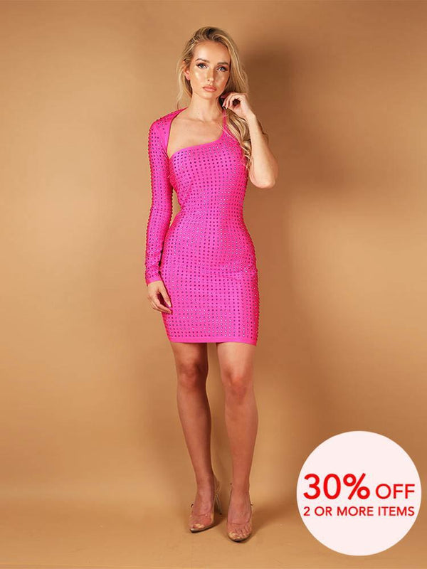 House of Maguie Dresses RUBI PINK ASSYMETRIC SHOULDERS RHINESTONES BODYCON DRESS