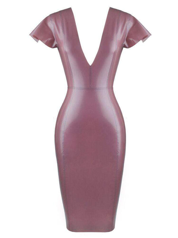 HOUSE OF MAGUIE Dresses SANTA ELECTRIC LILAC DEEP 'V' BUTTERFLY SLEEVES LATEX DRESS