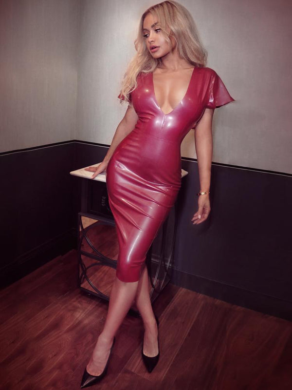 HOUSE OF MAGUIE Dresses SANTA PLUM DEEP 'V' BUTTERFLY SLEEVES LATEX DRESS