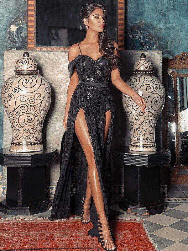 HOUSE OF MAGUIE Dresses SCHEHERAZADE BLACK THIGH SPLIT BUSTIER SEQUIN MAXI DRESS