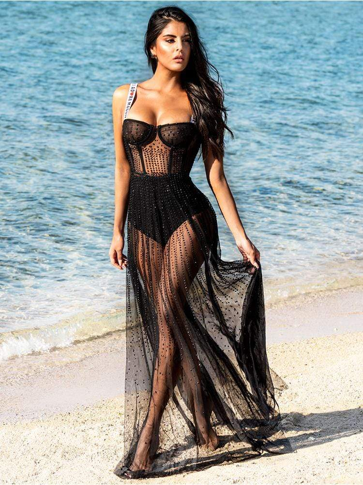 HOUSE OF MAGUIE Dresses SERENA BLACK J'ADORE MAGUIE EDIT BEADED MESH MAXI DRESS