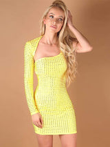 House of Maguie Dresses SOL YELLOW ASYMMETRIC SHOULDERS RHINESTONES BODYCON DRESS