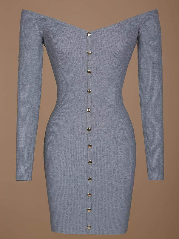 House of Maguie Dresses TIMELESS GREY BUTTONED OPEN FRONT OFF THE SHOULDERS MINI DRESS