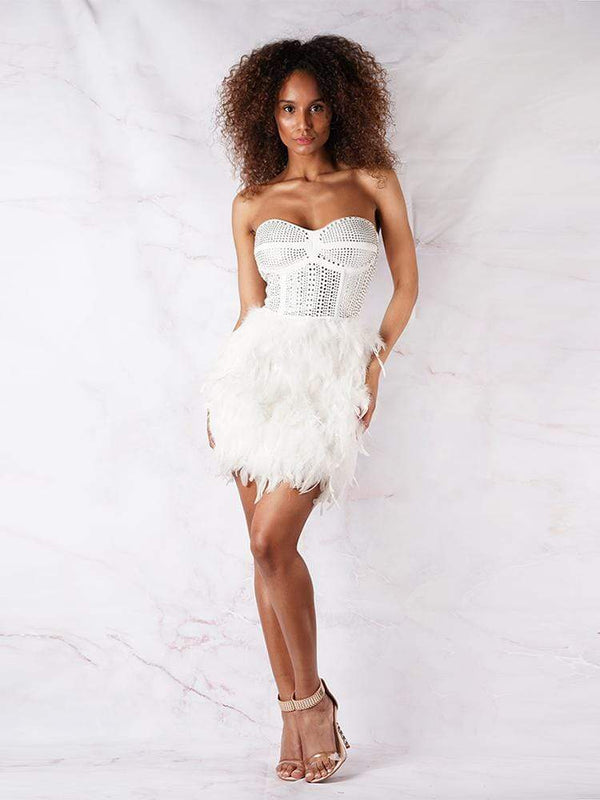 House of Maguie Dresses XS NINA WHITE FEATHERS & ENCRUSTED RHINESTONES BUSTIER  PARTY DRESS