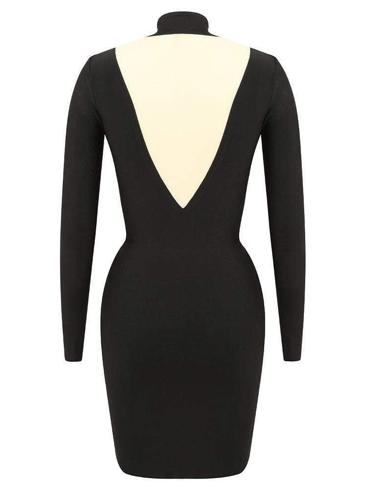 House of Maguie Dresses ZAYA BLACK NOIR BODY CONTOUR BANDAGE DRESS