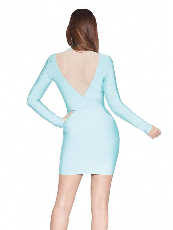 House of Maguie Dresses ZAYA SERENITY BLUE BODY CONTOUR BANDAGE DRESS