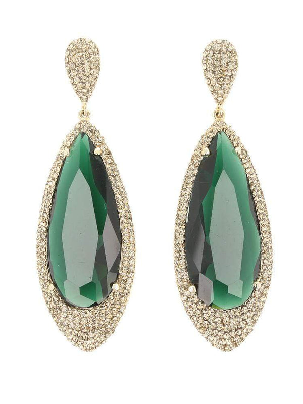 HOUSE OF MAGUIE EARRINGS SHAKA GREEN CRYSTAL MULTIFACETED DROP EARRINGS