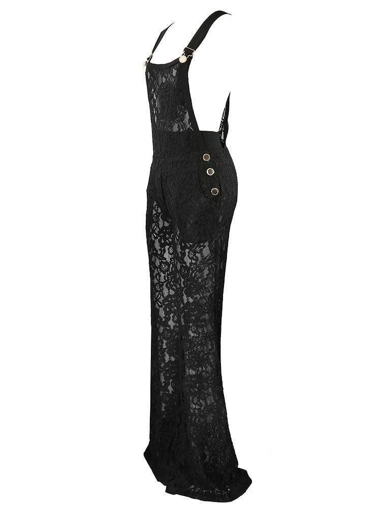 House of Maguie JUMPSUITS CARMEN BLACK GUIPURE LACE BUCKLE JUMPSUIT