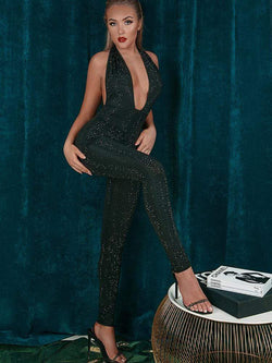 HOUSE OF MAGUIE JUMPSUITS MARCELLA BLACK CRYSTALS STUDDED DEEP PLUNGE CATSUIT