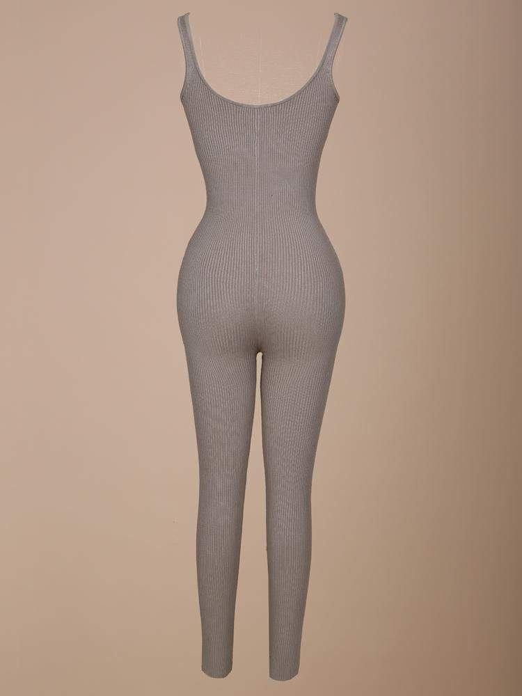 House of Maguie JUMPSUITS NEARLY NAKED MOCCA V COLLAR KNIT JUMPSUIT