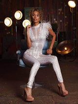 House of Maguie JUMPSUITS Pamela White Ostrich Feathers Embellished Crystallised Jumpsuit