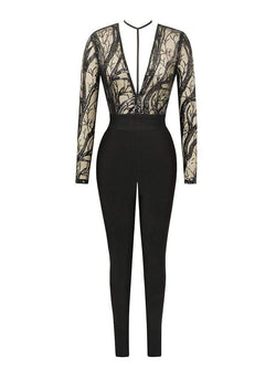 House of Maguie JUMPSUITS S / Black SAWARY BLACK HARNESS SEQUIN EMBROIDERY BANDAGE JUMPSUIT