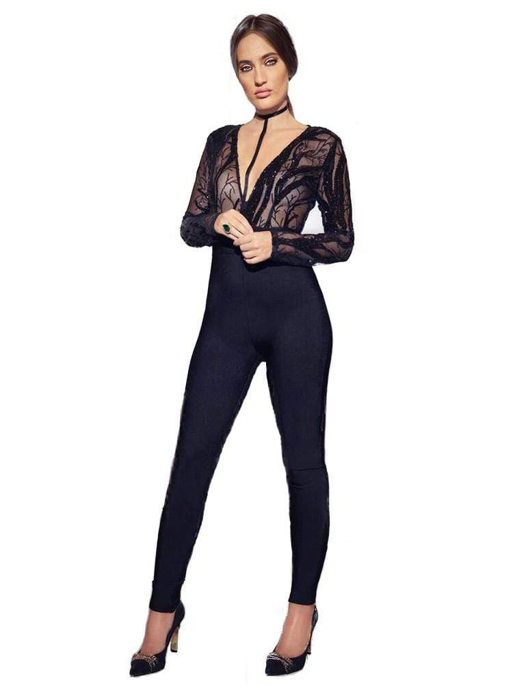 House of Maguie JUMPSUITS SAWARY BLACK HARNESS SEQUIN EMBROIDERY BANDAGE JUMPSUIT