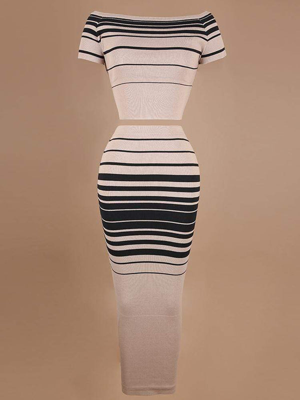 HOUSE OF MAGUIE MATCHING SETS & CO-ORDINATES MACHIKA BLACK & LATTE STRIPED CO-ORD KNIT RIBBED SET