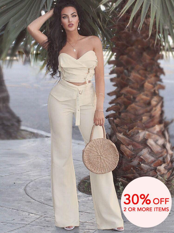 HOUSE OF MAGUIE  MATCHING SETS & CO-ORDINATES MARTINEZ LATTE RESORT SCUBA CREPE BIKER TOP & TROUSER SET