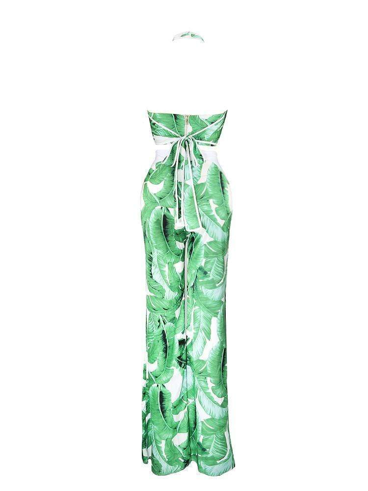 HOUSE OF MAGUIE MATCHING SETS & CO-ORDINATES RICA GREEN PALM PRINT TWO PIECE SILK TROUSER SUIT