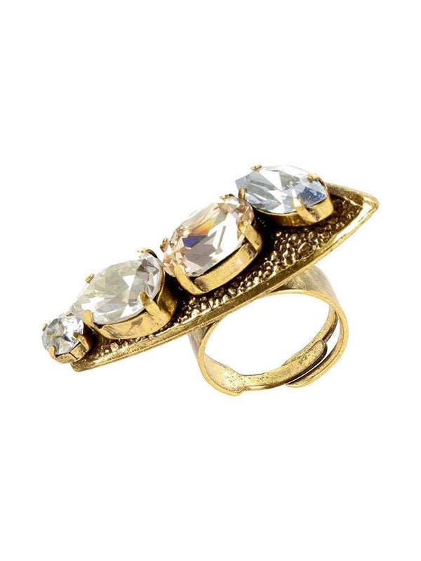 HOUSE OF MAGUIE RINGS KORPUSNU BILO AMBER PETALS SWAROVSKI® SQUARE RING