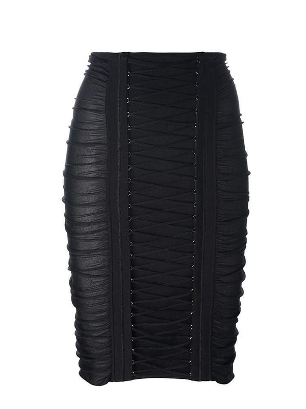 House of Maguie Skirts PIETRA BLACK RUCHED SEMI SHEER BANDAGE SKIRT