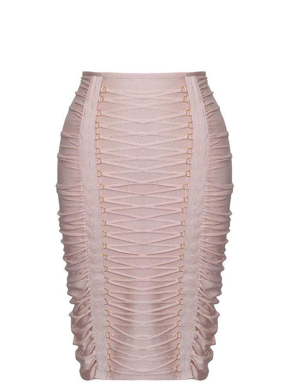 House of Maguie Skirts PIETRA BLUSH RUCHED SEMI SHEER BANDAGE PENCIL SKIRT