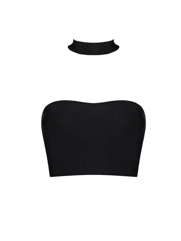 House of Maguie TOPS CAIT BLACK COLLAR DETAILS BANDAGE TOP