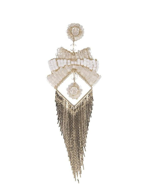 FUJI WHITE TRIANGLE FRINGED MAXI EARRINGS - HOUSE OF MAGUIE