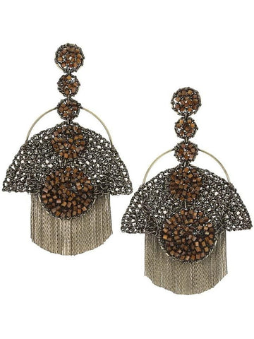 Natalie Oval Earrings White