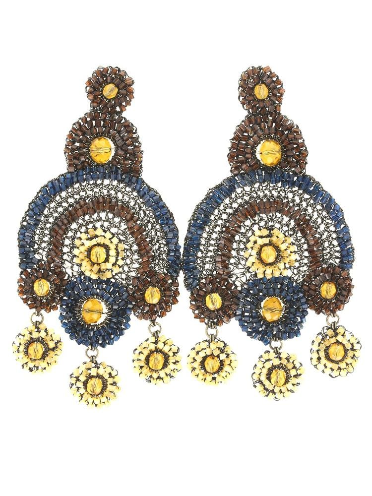 AKILAH AMBER ARTISAN MAXI EARRINGS - HOUSE OF MAGUIE