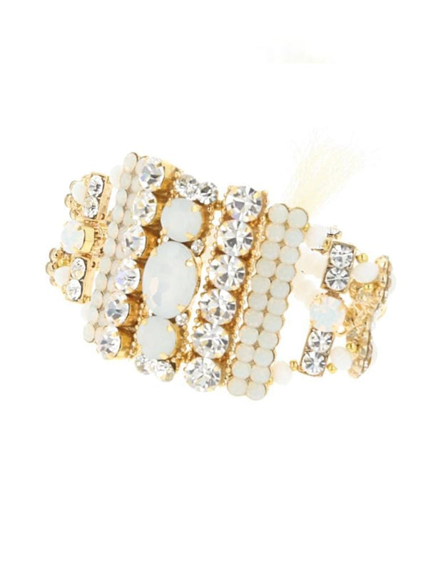 AILEEN WHITE CRYSTALS ENCRUSTED MAXI BRACELET - HOUSE OF MAGUIE