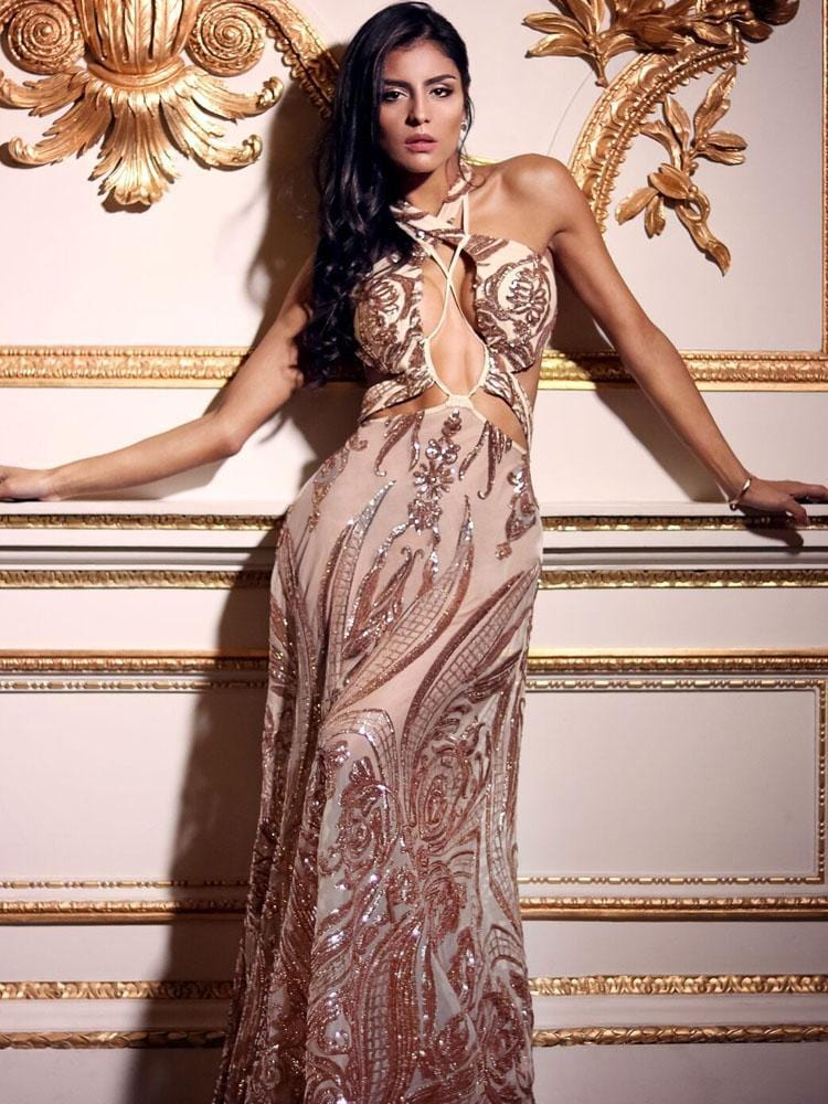 d0fa35a3b72 ... VERGARA ROSE GOLD DEEP  V  PLUNGE CUT OUTS SEQUIN DRESS - HOUSE OF  MAGUIE ...