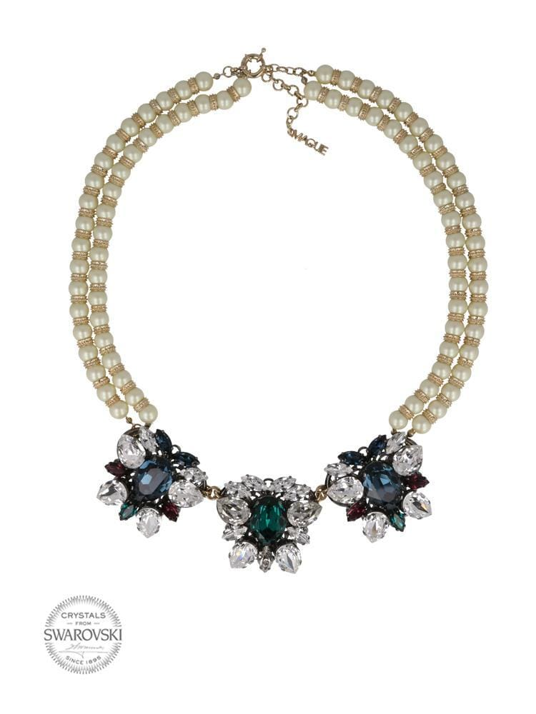 I'M LOVE WITH COCO GOLD PLATED NECKLACE MADE WITH CRYSTALS AND PEARLS FROM SWAROVSKI®