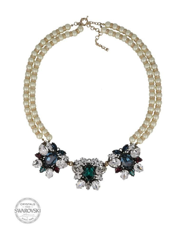 I'M LOVE WITH COCO GOLD PLATED NECKLACE MADE WITH CRYSTALS AND PEARLS FROM SWAROVSKI® - HOUSE OF MAGUIE