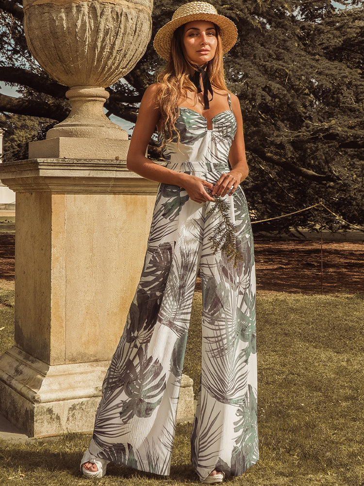 Cancun Green Palm Print Palazzo Trousers Jumpsuit
