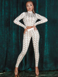 KIRA WHITE & NUDE CRISS CROSS CRYSTAL BEADS CO-ORD TROUSER SET - HOUSE OF MAGUIE