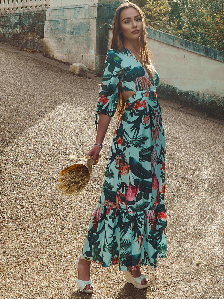 Floral Print Maxi Dress, Tropical Dress, Zara Summer Dress, Best Summer Dres London, Summer MaxiDress Cheap Summer Dresses, Vacation Summer Dress, Summer Holidays Dress, Wedding Guest Dress, Best Summer Dress London