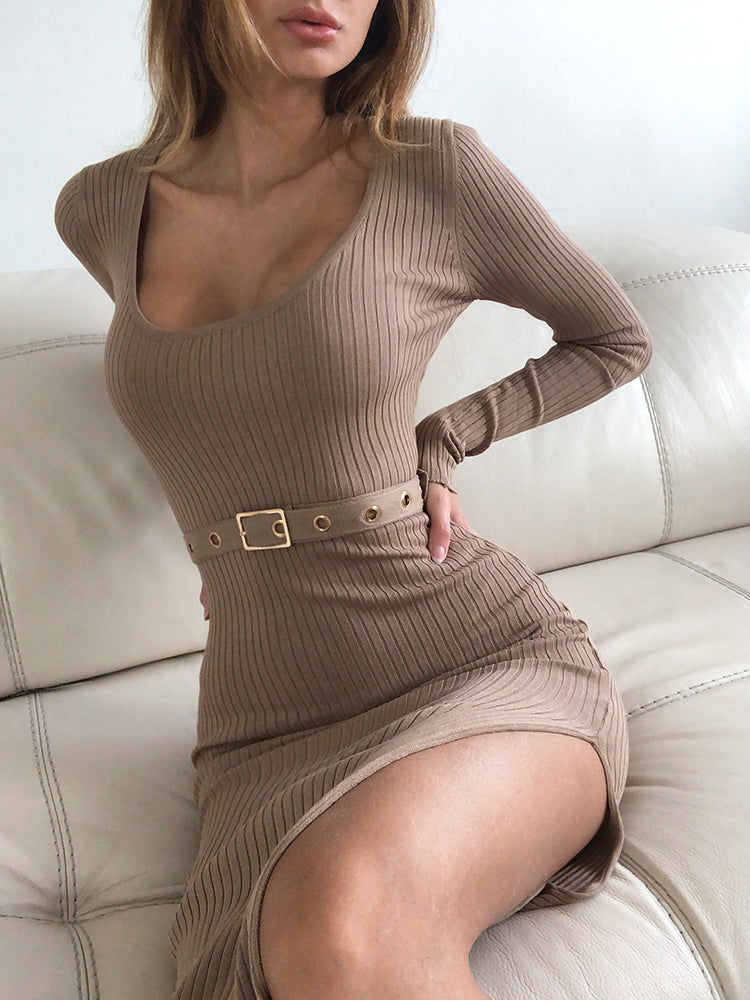 ribbed dress, midi dress, dress with split, belted dress, loungewear dress, Kim kardashian dress, Kylie Jenner dress, long sleeve dress, dress Zara, dress mango, casual dress, jlux dress, dress asos,