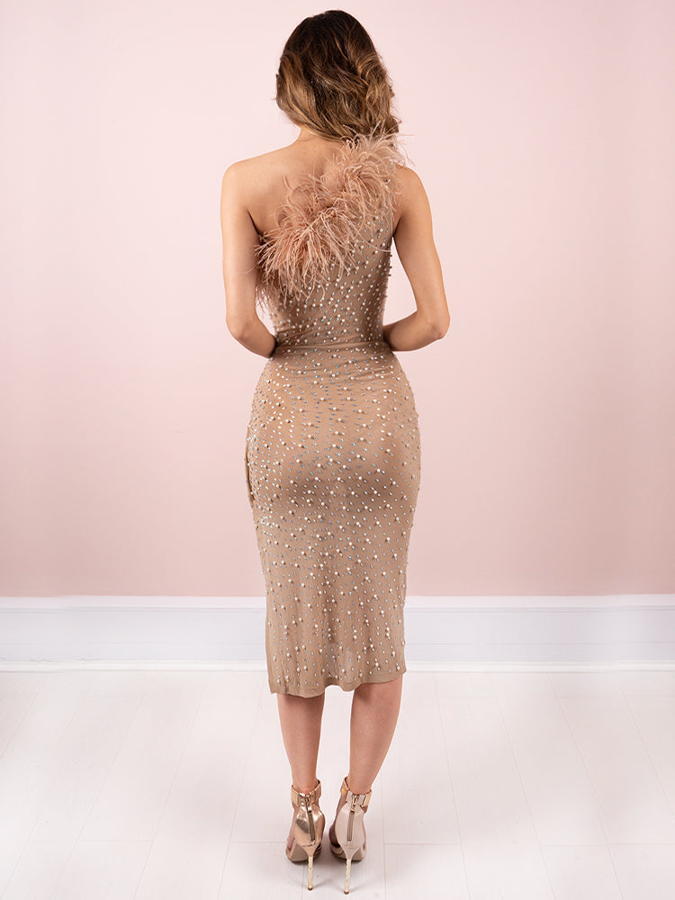 Annabel's Latte Ostrich Feathers Thigh Split Party Dress